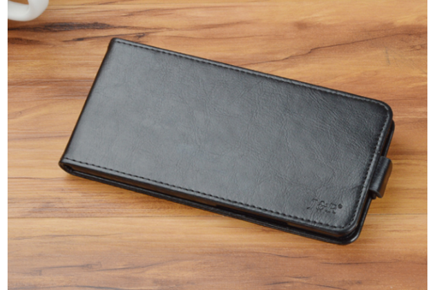 Фирменный оригинальный вертикальный откидной чехол-флип для Fly FS454 Nimbus 8 черный из натуральной кожи Prestige Италия