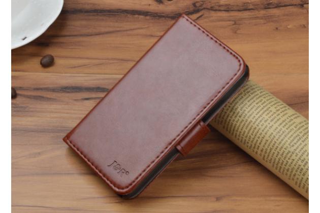 Фирменный чехол-книжка из качественной импортной кожи с подставкой застёжкой и визитницей для Fly FS505 Nimbus 7 коричневый