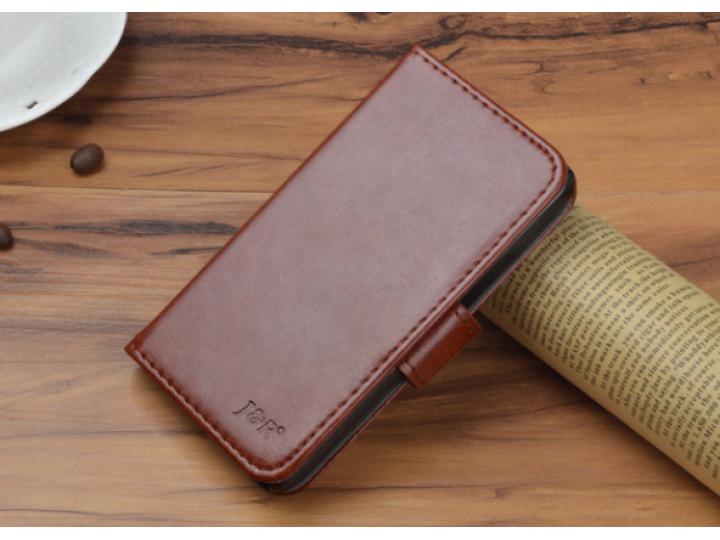 Фирменный чехол-книжка из качественной импортной кожи с подставкой застёжкой и визитницей для Fly FS505 Nimbus..