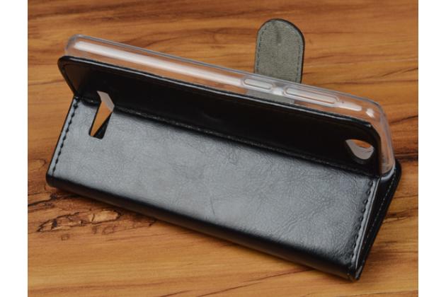 Фирменный чехол-книжка из качественной импортной кожи с подставкой застёжкой и визитницей для Fly FS505 Nimbus 7 черный