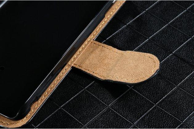 Фирменный чехол-книжка из качественной импортной кожи с подставкой застёжкой и визитницей для Fly FS507 Cirrus 4 черный