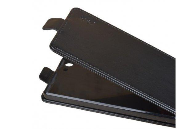 Фирменный оригинальный вертикальный откидной чехол-флип для Fly FS507 Cirrus 4 черный из натуральной кожи Prestige Италия