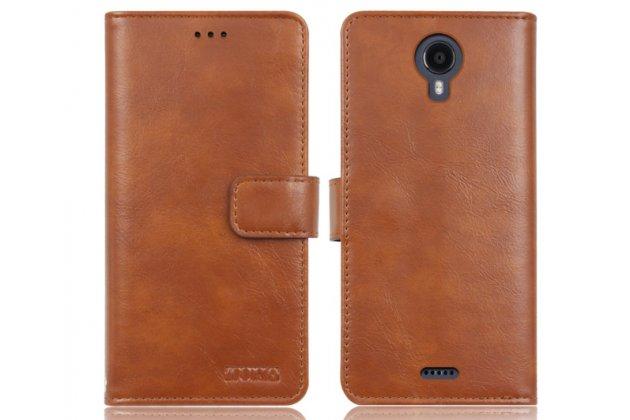 Фирменный чехол-книжка из качественной импортной кожи с подставкой застёжкой и визитницей для Fly FS517 Cirrus 11 коричневый
