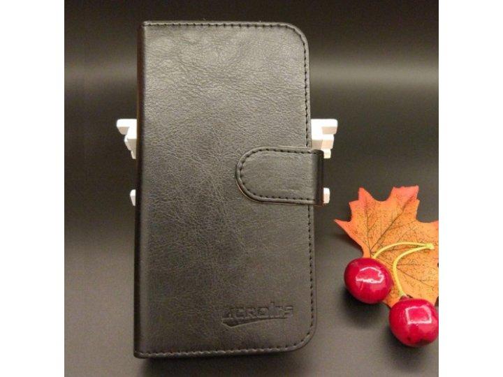 Фирменный чехол-книжка из качественной импортной кожи с визитницей для Fly FS551 Nimbus 4 черный ..