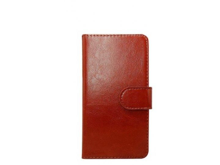 Фирменный чехол-книжка из качественной импортной кожи с визитницей для Fly FS551 Nimbus 4 коричневый..