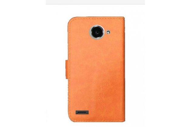 Фирменный чехол-книжка из качественной импортной кожи с визитницей для Fly FS551 Nimbus 4 коричневый