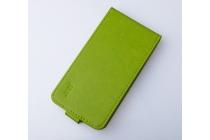 Фирменный оригинальный вертикальный откидной чехол-флип для Wileyfox Swift зеленый из натуральной кожи Prestige Италия