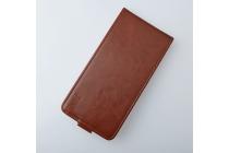 Фирменный оригинальный вертикальный откидной чехол-флип для Wileyfox Swift коричневый из натуральной кожи Prestige Италия