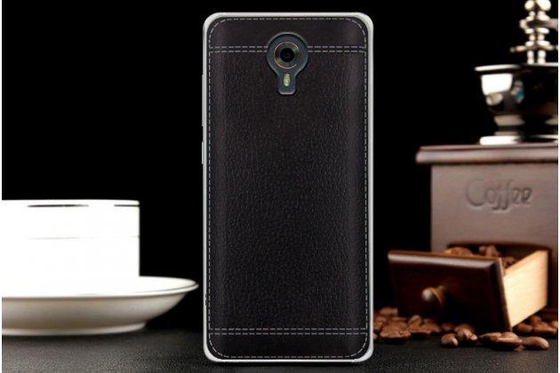 Фирменная премиальная элитная крышка-накладка на Wileyfox Swift черная из качественного силикона с дизайном под кожу