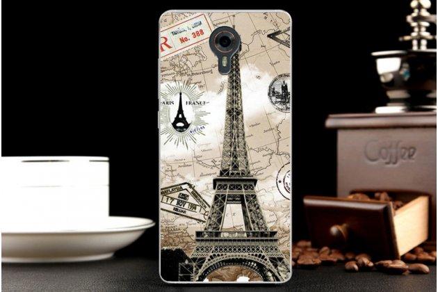 Фирменная уникальная задняя панель-крышка-накладка из тончайшего силикона для Wileyfox Swift с объёмным 3D рисунком тематика Париж