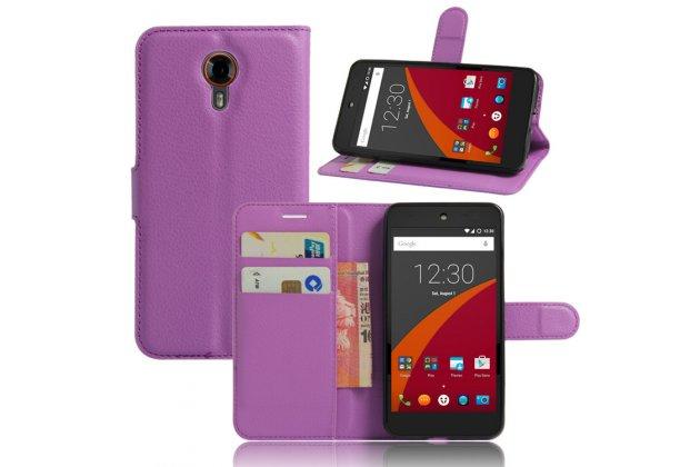 Фирменный чехол-книжка из качественной импортной кожи с подставкой застёжкой и визитницей для Wileyfox Swift фиолетовая