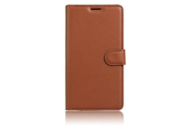 Фирменный чехол-книжка  из качественной импортной кожи с застёжкой и мультиподставкой для Wileyfox Swift коричневая