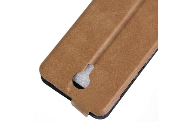 Фирменный оригинальный вертикальный откидной чехол-флип для Wileyfox Swift коричневый из кожи Prestige Италия