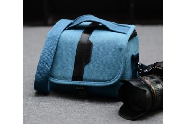Фирменная сумка для фотоаппарата Olympus DZ-105/ E-1/ E-3/  E-30/ E-300/ E-330/ E-400/ E-410/ E-420/ E-450/ E-5 с отделением для дополнительных аксессуаров из высококачественного материала синего цвета