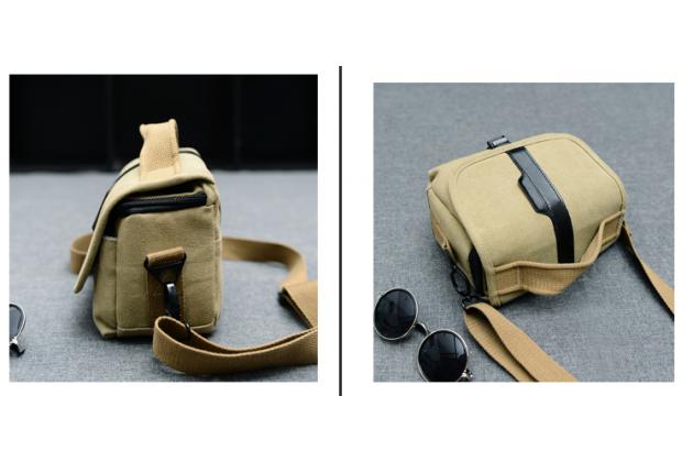 Фирменная сумка для фотоаппарата Olympus DZ-105/ E-1/ E-3/  E-30/ E-300/ E-330/ E-400/ E-410/ E-420/ E-450/ E-5 с отделением для дополнительных аксессуаров из высококачественного материала бежевого цвета