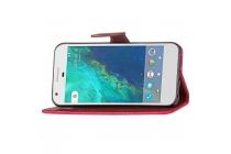 Фирменный чехол-книжка из качественной импортной кожи с мульти-подставкой застёжкой и визитницей для  Google Pixel/HTC Google Nexus 2016/ HTC Nexus S1 красный