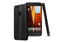Задняя панель-крышка из тончайшего и прочного пластика обтянутая импортной кожей для Google Pixel/HTC Google Nexus 2016/ HTC Nexus S1 чёрного цвета