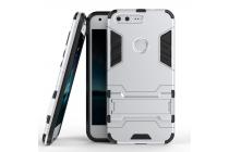 Противоударный усиленный ударопрочный фирменный чехол-бампер-пенал для Google Pixel/HTC Google Nexus 2016/ HTC Nexus S1 серебренного цвета.