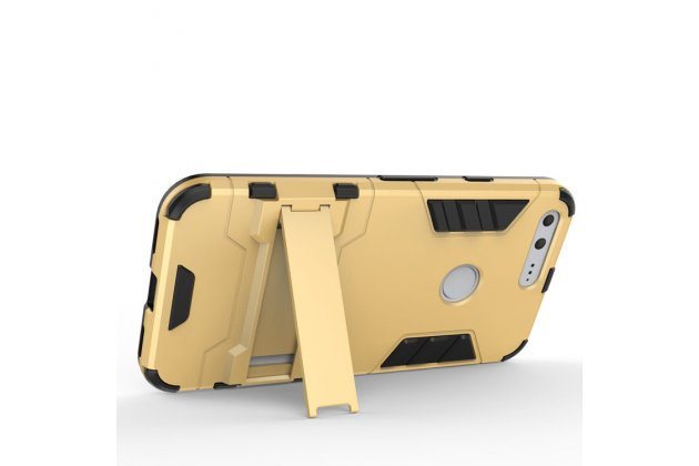 Противоударный усиленный ударопрочный фирменный чехол-бампер-пенал для  Google Pixel/HTC Google Nexus 2016/ HTC Nexus S1 золотого цвета