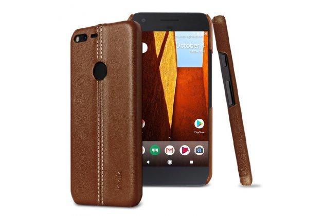 Задняя панель-крышка из тончайшего и прочного пластика обтянутая импортной кожей для Google Pixel/HTC Google Nexus 2016/ HTC Nexus S1 коричневого цвета