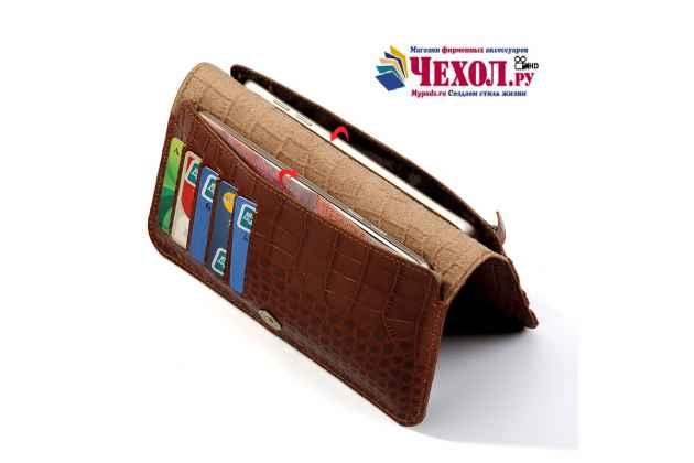 Фирменный чехол-портмоне-клатч-кошелек на силиконовой основе из качественной импортной кожи коричневый для Google Pixel 2 XL