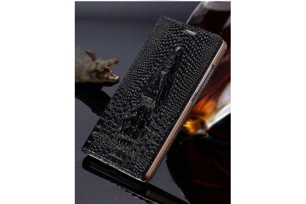 Фирменный роскошный эксклюзивный чехол с объёмным 3D изображением кожи крокодила черный для Google Pixel 2 XL . Только в нашем магазине. Количество ограничено