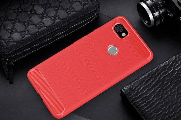 """Задняя панель-крышка из тончайшего мягкого силикона для Google Pixel 2 XL с матовой отделкой """"под карбон"""" красная"""