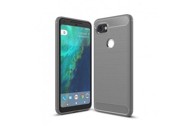 """Задняя панель-крышка из тончайшего мягкого силикона для Google Pixel 2 XL с матовой отделкой """"под карбон"""" серая"""