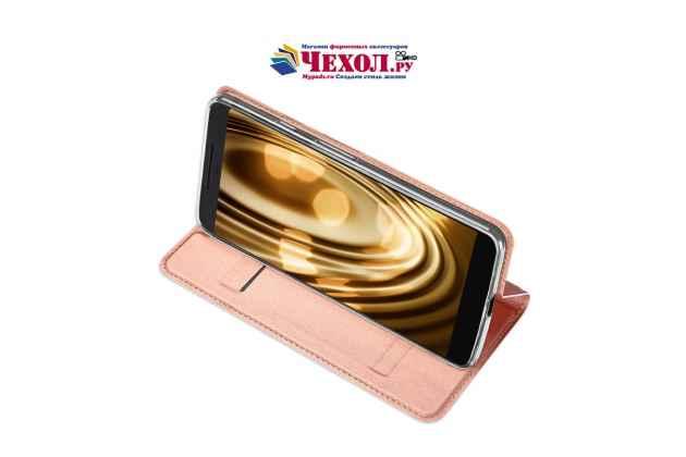 Фирменный премиальный элитный чехол-книжка с мульти-подставкой и визитницей для Google Pixel 2 XL водоотталкивающий цвет розовое золото