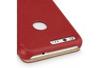 Фирменный чехол-футляр-книжка для Google Pixel XL/HTC Google Nexus Marlin M1 красного цвета кожаный.