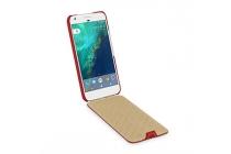 Фирменный оригинальный вертикальный откидной чехол-флип для Google Pixel XL/HTC Google Nexus Marlin M1 красного цета из натуральной кожи Prestige Италия
