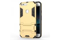 Противоударный усиленный ударопрочный фирменный чехол-бампер-пенал для  Google Pixel XL/HTC Google Nexus Marlin M1 золотого цвета