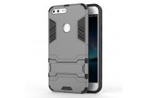 Противоударный усиленный ударопрочный фирменный чехол-бампер-пенал для Google Pixel XL/HTC Google Nexus Marlin M1 серого цвета