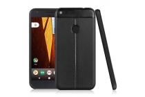 Задняя панель-крышка из тончайшего и прочного пластика обтянутая импортной кожей для  Google Pixel XL/HTC Google Nexus Marlin M1 чёрного цвета.