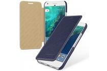 Фирменный чехол-футляр-книжка для Google Pixel XL/HTC Google Nexus Marlin M1 синего цвета кожаный.
