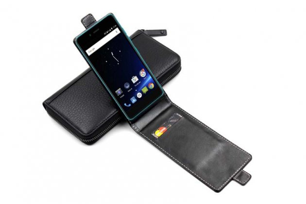 Фирменный оригинальный вертикальный откидной чехол-флип для Highscreen Easy S Pro черный из натуральной кожи Prestige Италия