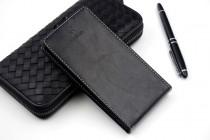Фирменный оригинальный вертикальный откидной чехол-флип для Highscreen Easy S черный из натуральной кожи Prestige Италия