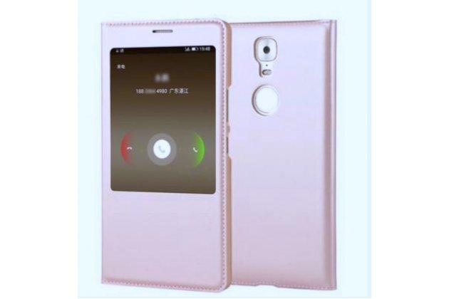 Фирменный оригинальный чехол-книжка из качественной импортной кожи с окном для входящих вызовов  для Highscreen Power Five Max Фуксия-розовый