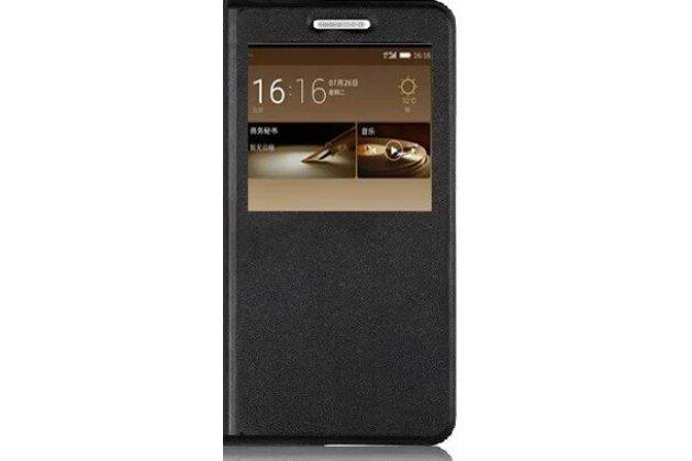 Фирменный оригинальный чехол-книжка из качественной импортной кожи с окном для входящих вызовов  для Highscreen Power Five Max черный