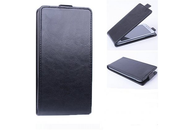 Фирменный оригинальный вертикальный откидной чехол-флип для Highscreen Power Five Max черный из натуральной кожи Prestige Италия