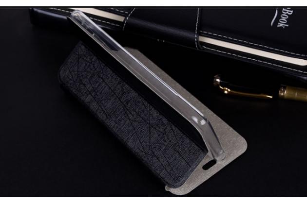 Фирменный чехол-книжка из качественной водоотталкивающей импортной кожи на жёсткой металлической основе для Highscreen Power Ice Max черный