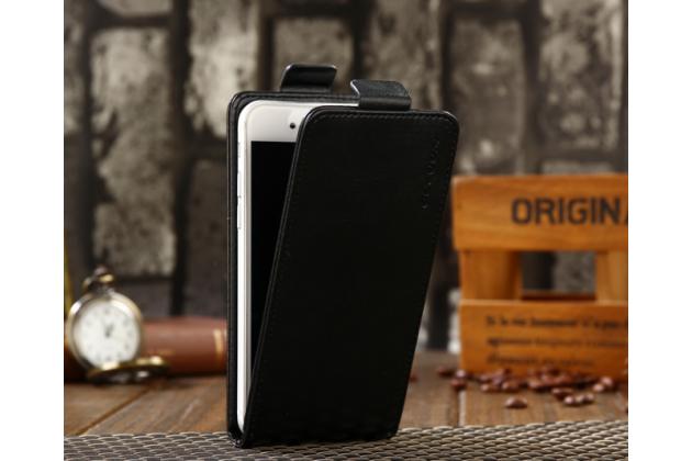 Фирменный оригинальный вертикальный откидной чехол-флип для Highscreen Power Ice Max черный из натуральной кожи Prestige Италия