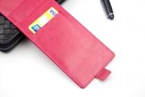 """Фирменный оригинальный вертикальный откидной чехол-флип для Highscreen Prime L"""" розовый из натуральной кожи Prestige Италия"""