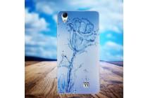 """Фирменная роскошная задняя панель-чехол-накладка с безумно красивым расписным рисунком на HomTom HT16 тематика """"водяная роза"""""""