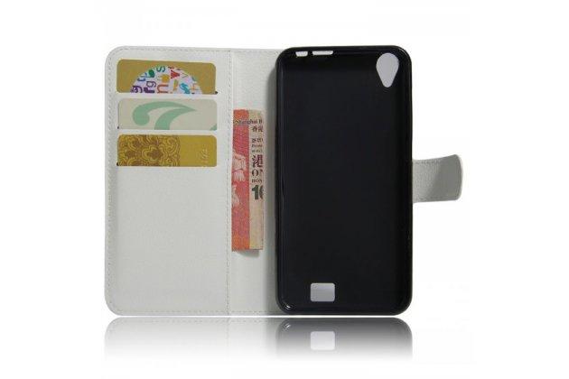 Фирменный чехол-книжка из качественной импортной кожи с подставкой застёжкой и визитницей для HomTom HT16 белый