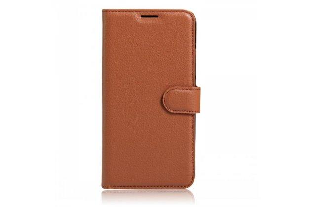Фирменный чехол-книжка из качественной импортной кожи с подставкой застёжкой и визитницей для HomTom HT16 коричневый