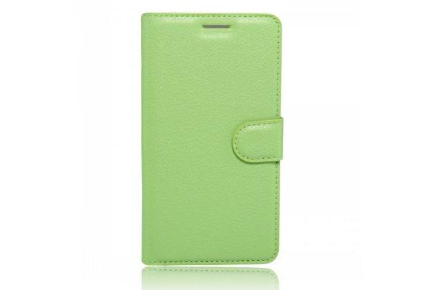 Фирменный чехол-книжка из качественной импортной кожи с подставкой застёжкой и визитницей для HomTom HT16 зеленый
