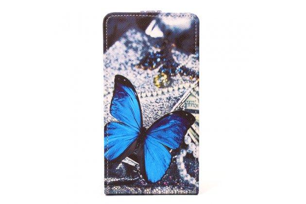 """Фирменный вертикальный откидной чехол-флип для HomTom HT16 """"тематика радужные Бабочки"""""""
