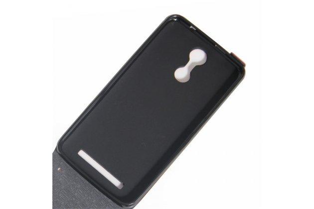 Фирменный оригинальный вертикальный откидной чехол-флип для HomTom HT17/ HT17 Pro коричневый из натуральной кожи Prestige