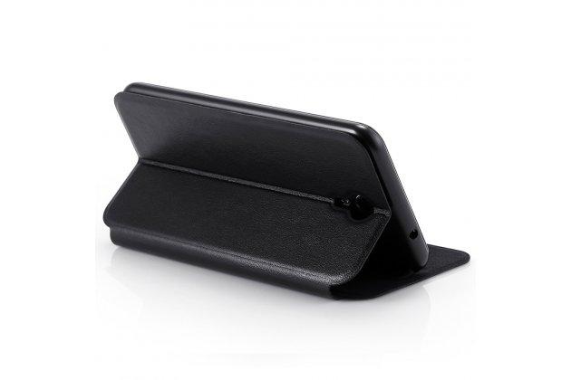 Фирменный чехол-книжка из качественной водоотталкивающей импортной кожи на жёсткой металлической основе для HomTom HT3 Pro черный